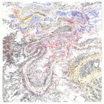 Dana Velan, Untitled from the series Legendless Maps, 2012, pen, ink, watercolour on paper, 90 x 88 in